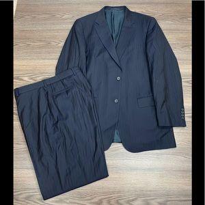 Hilton Navy w/ Gold Pinstripe Suit 44L Long